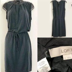 LOFT Ann Taylor S gray modal drawstring dress